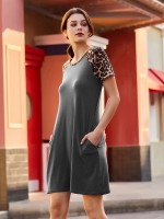 Glamorous Gray Short Sleeve Mini Dress Contrast Color Online Fashion