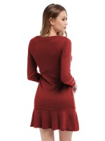 Curve Smoothing Red Long Sleeve Ruffled Mini Crew Neck For Sexy Women