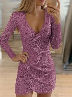 Showy Rose Red Sequin Mini Dress Wrap Deep V Neck Weekend Time
