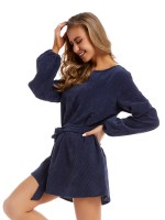 Absorbing Blue Mini Dress Solid Color Tie Waist Slim Fit