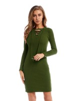 Charming Green Full Sleeve Solid Color Sweater Dress Fashion