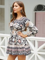 Comfy Black Mini Dress Floral Print Elastic Waist Girls Fashion