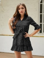 Distinctive Black Mini Dress Queen Size Dot Pattern Comfort