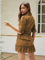Bewitching Brown Ruffle Mini Dress Dots Large Size Female Clothes