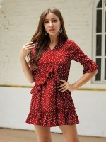 Favorite Red Half Sleeve Large Size Mini Dress Fashion Comfort