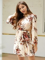 Diva Apricot Open Back Bell Sleeves Mini Dress For Female