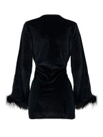 Black Plunge Collar Solid Color Mini Dress Trend For Women