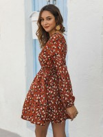 Ladies Red Lace Trim Mini Dress Fitted Waist Casual Fashion