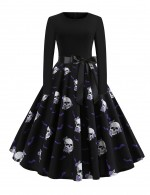 Enthralling Skull Pattern Tie Zipper Skater Dress Ultra Sexy