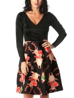 Super Faddish Orange Patchwork Skater Dress Reindeer Print Sheath