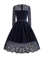 Supper Fashion Royal Blue Lace Skater Dress Swing Hem Tie Tailored Quality