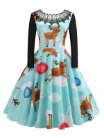 Graceful Patchwork Reindeer Paint Skater Dress For Hanging Out