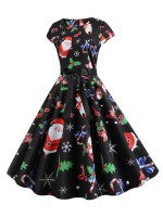 Silhouette Tie Christmas Paint Skater Dress Fashion Trend