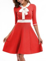 Comfy Orange Skater Dress Bow Tie Crew Neck Knit Classic Fashion