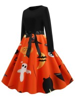 Ethereal Skater Dress Full Sleeve Halloween Print Chic Trend