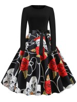 Refresh Skull And Flower Paint Tie Skater Dress Outfits