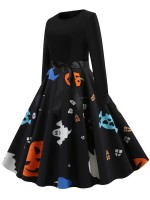 Captivating Skater Dress Halloween Paint Swing Hem Adult