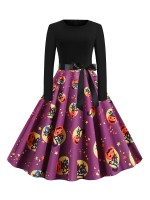 Entrancing Patchwork Skater Dress Back Zipper Preventing Sweat