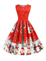 Exquisite Swing Hem Christmas Skater Dress Sexy Ladies