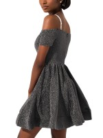 Exquisite Gray Mini Length Sling Skater Dress Comfort Fashion