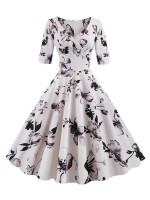 Stretchable V Collar Flower Printed Skater Dress Leisure Time
