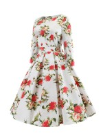 Classic Flower Paint Zip Back Skater Dress Female Elegance