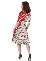 Gorgeous Swing Hem Mom Kid Dress Patchwork Feminine Curve