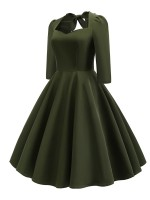 Loose Fitting Army Green Plain Zipper Bowknot Back Skater Dress Vacation Time