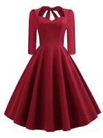 Lively Wine Red Solid Color Back Hollow Out Skater Dress Cool Fashion