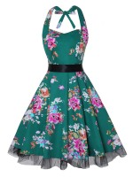 Exotic Queen Size Halter Neck Skater Dress Comfort Women Elegance