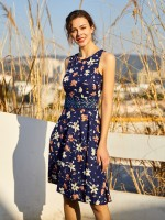 Enchanting Skater Dress Floral Printed Sleeveless Casual Women