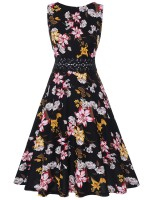 Eye Catch Sleeveless Skater Dress Floral Printed For Traveling