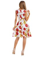 Fabulous Skater Dress Floral Print V Neck For Romans