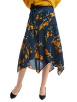 Refresh Purplish Blue High Waist Tie Floral Pattern Skirt Elegance