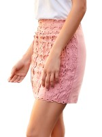 Demure Pink Zipper At Back Knit Mini Carving Skirt Luscious Curvy