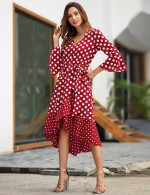 Remarkable Wine Red Dot Print High-Low Hem Summer Dress Home Dress