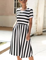 Ultimate Comfort Black Stripe Round Neck Short Sleeve Summer Dress