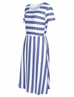 Affordable Blue Crew Neck Stripe Printing Summer Dress Preventing