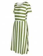 Ultra Hot Army Green Side Pocket Summer Dress Stripe Painting
