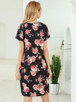 Marvellous Black Side Pockets Summer Dress Flower Print Comfort