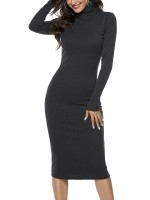 Fresh Black Solid Color High Neck Sweater Dress Casual Wear