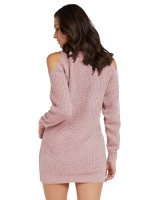 Entrancing Pink Sweater Dress High Neck Cold Shoulder Classic Fashion