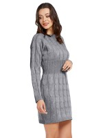 Classy Gray Sweater Dress Round Collar Twist Design Fashion Style