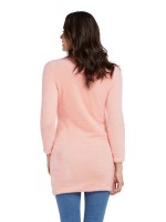 Versatile Pink Sweater Dress Thigh-Length Solid Color Leisure
