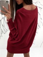 Casual Red Mini Sweater Dress Batwing Sleeve Comfort