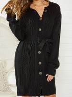 Sparkly Black Sweater Dress With Belt Front Button For Party