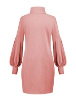 Trendy Pink High Neck Solid Color Sweater Dress Fast Shipping