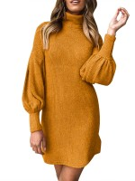 Flowing Yellow Bishop Sleeve Sweater Dress Rib Comfort Fabric