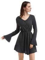 Sparkly Black Bell Sleeve Sweater Dress Fitted Waist Online Shopping