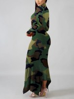 Ravishing High Neck Rib Sweater Dress Camo Paint For Party